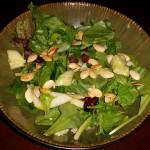 salad - mixed greens, cranberries, pumpkin seeds, cucumbers, pears, parmesan cheese, balsamic vin